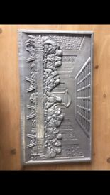 Large metal Christian last supper wall plaque