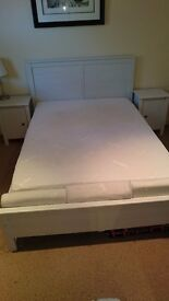 Ikea standard double bed frame with memory mattress and two matching bedside units