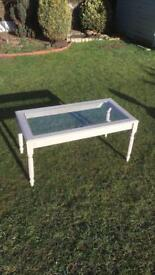 Painted coffee table with toughened glass top (can deliver)