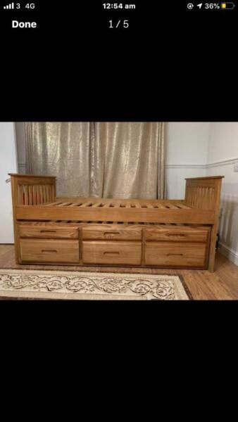 3FT single brown captains guest bed with 3 storage draws for sale  Ely, Wales