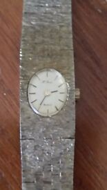 Boxed H Samuel brushed gold plate ladies quartz watch (needs new battery)