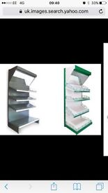 Green canopy with lights for tegometsl shelving with mirrors