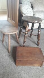 Collectable wooden stools and jewellery box job lot