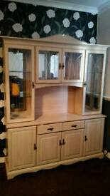 Wall unit and double wooden solid bed