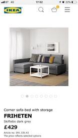 Ikea Friheten skiftebo dark grey sofa bed with under seat storage
