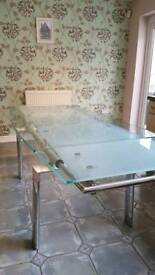 Stunning Extendable Glass and Chrome Table