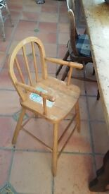 Childs wooden High Chair stripped Pine