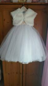 White and champagne flower girl dress