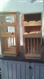 Two Wall Mountable pine plate & bottle racks