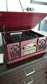 Wooden record player , cd radio and cassete