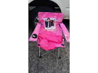 childs pink canvas folding chair with bag