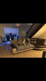 DFS Real Brown Leather Sofa