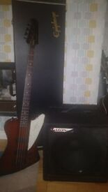 Epiphone Thunderbird Bass Guitar, Ashdown 100w Bass and Epiphone Hard Case
