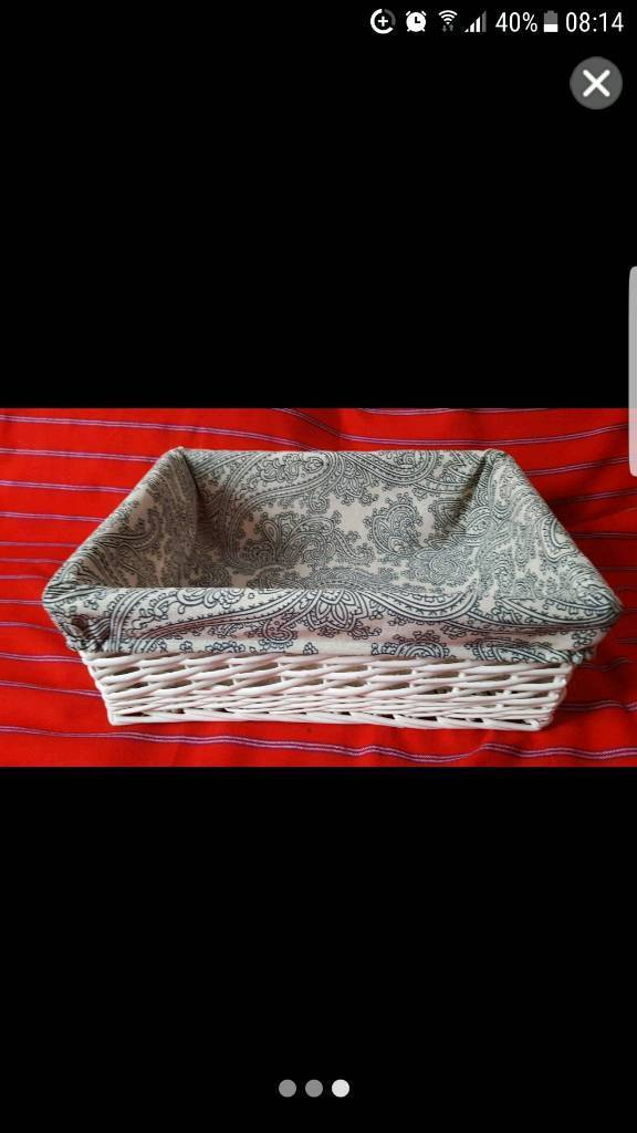 New blue white wicker basket with linen lining