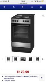 Currys essential 50cm silver/black electric cooker new boxed