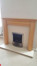 Full working gas fire with granite hearth & wood mantle