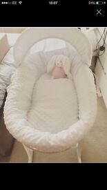 White cuddles collection moses basket and stand