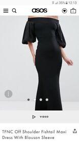 Gorgeous ASOS TFNC Off Shoulder Fishtail Black dress RRP £58 - worn once!