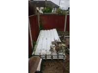 8ft tall solid, galvanised, industrial fence, metal