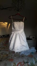 Wedding and bridesmaid dress, 50s style short weddimg dress size 8 other dress size 14, not worn.