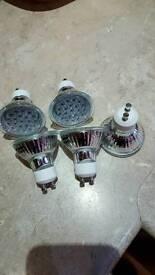 5 Blue light LED spot lights GU10