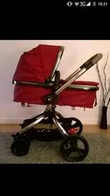 Mothercare Orb pram with foot muff and rain cover