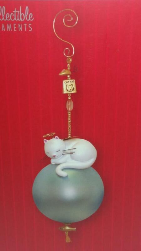 """Angel Cat Ornament - Gold Plated Fish,Mouse,Catnip Charms, 6-1/4"""", Ingrid Design"""