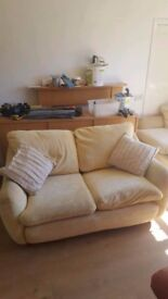 THREE SEATER SOFA, MATCHING ARMCHAIR & STORAGE POUFFE