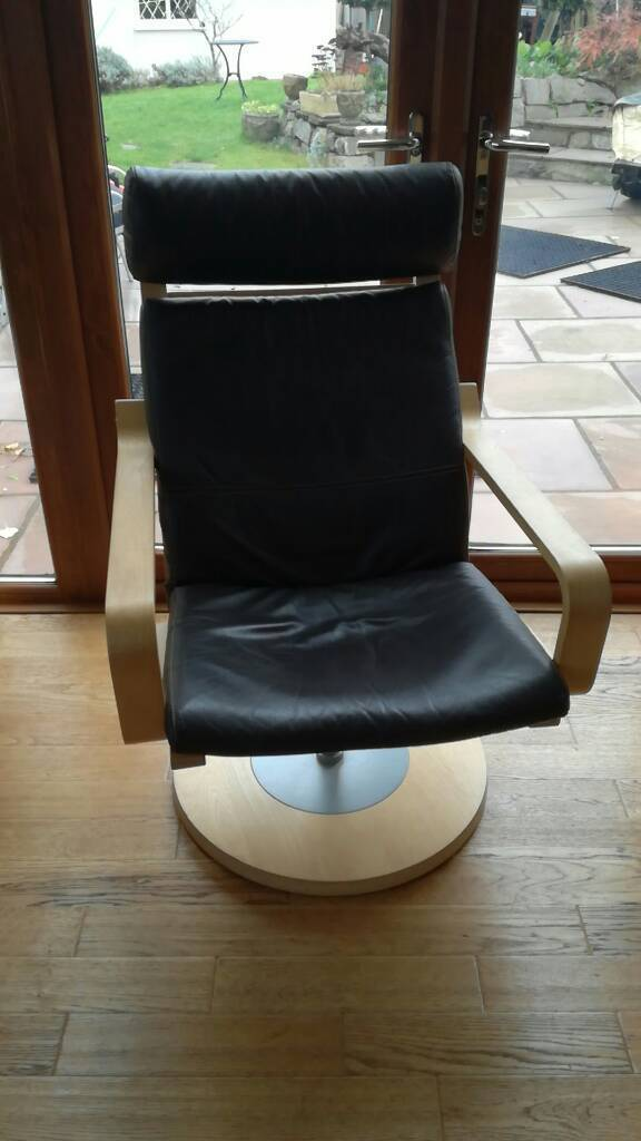Strange Very Rare Leather Ikea Poang Swivel Chair In Mumbles Swansea Gumtree Bralicious Painted Fabric Chair Ideas Braliciousco