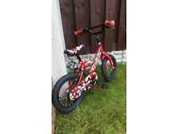"""Boys 14 """" bike red bmx in excellent condition can deliver for a small charge"""
