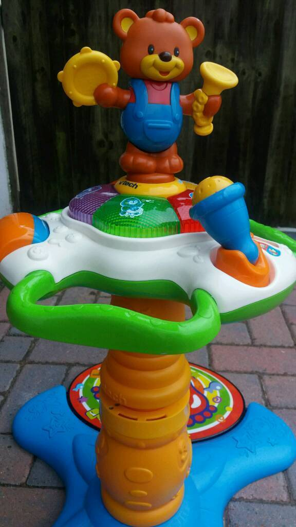 V Texh stand to sit dancing bear towerin Telscombe Cliffs, East SussexGumtree - Excellent condition VTECH sit to standing dancing bear tower comes apart . Brilliant toy help teach baby child from ages 9 months to 36 months Different dance modes Fun packed activity centre Ono