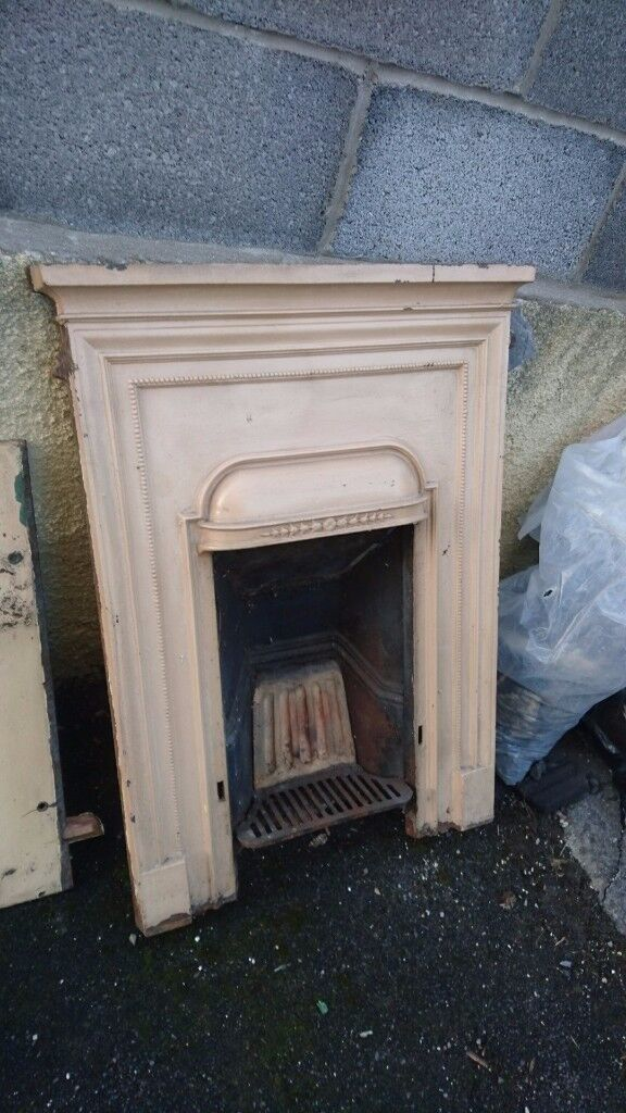 1930s small cast iron fireplace for sale