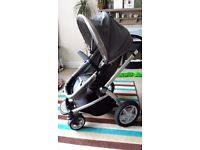 Mothercare My4 Pram and Pushchair - Grey - including rain cover, sheets, parasol, spare wheel