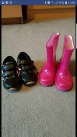 girls wellies & trainers size 5