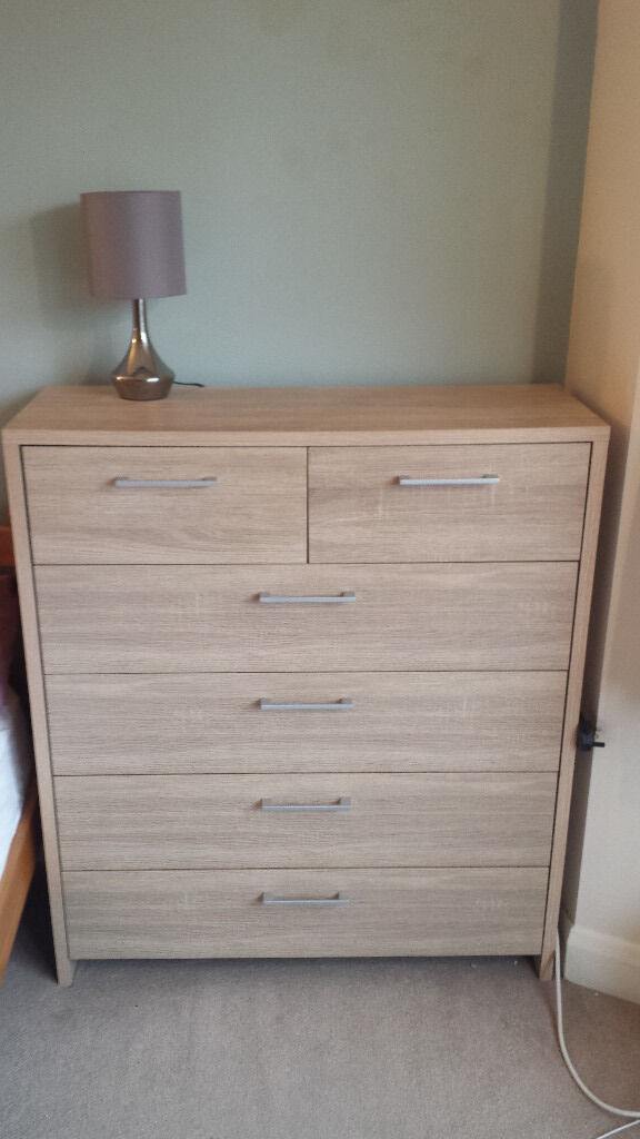 Chest of drawers and bedside tablein Richmond, LondonGumtree - Chest of drawers and matching bedside table. Bought less than two years ago from B&Q and only selling because we are moving. Excellent condition like new. Wood effect please see close up image of the wood effect. £20 for the chest of drawers and...