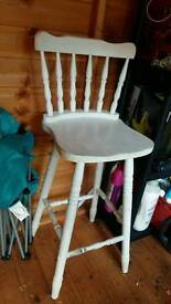 Pine bar stool painted white