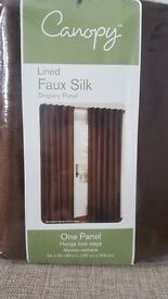 Curtains - Lined Faux Silk Brown, New in box