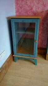 Small blue pine glass cabinet
