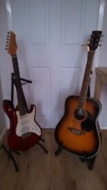 Electric guitar w/ amp plus Acoustic guitar & accessories inc. record to PC software, cases & stands