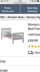White wooden single bed for sale