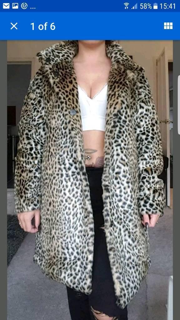 stunning Zara Faux Fur Leopard Animal Print coat jacket size 16 - 18 bnwt