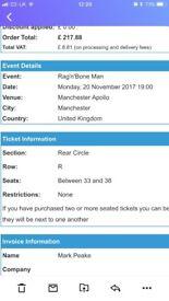 Concert tickets for Rag N Bone Man