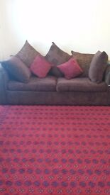 Nice dark brown 2 seater and 3 seater sofas for sale.