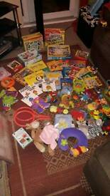 Large lot baby/child toys, books, puzzles