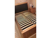 Double Bed Frame Oak and Black Leather