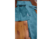 "Change of plan New Teal blue 90 "" W x 54 "" D Sateen finish curtains and 4 custom cushion covers"