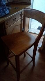 2 x Solid Wood Breakfast Bar chairs