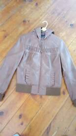 Next Brown Faux Leather Jacket Size 12