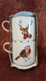 NEW M&S STACKING STONEWARE MUGS - STAG & ROBIN