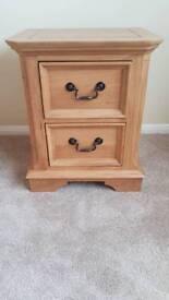 Solid oak bedside drawers pair
